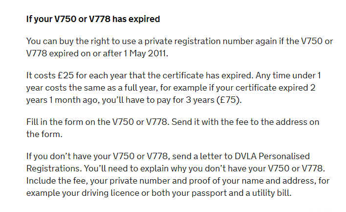 Information about expired DVLA certificates from GOV.UK