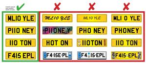 examples of illegal number plates
