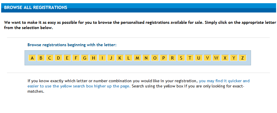 Browse personalised registrations screenshot