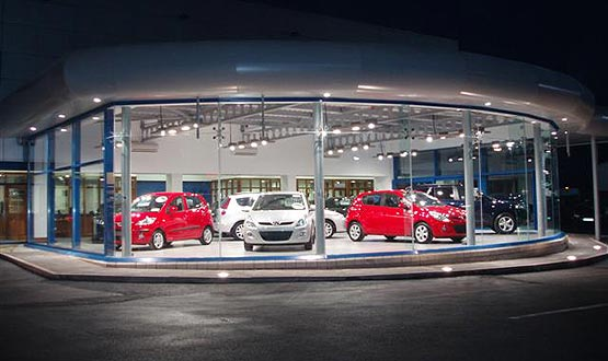 new cars in showroom