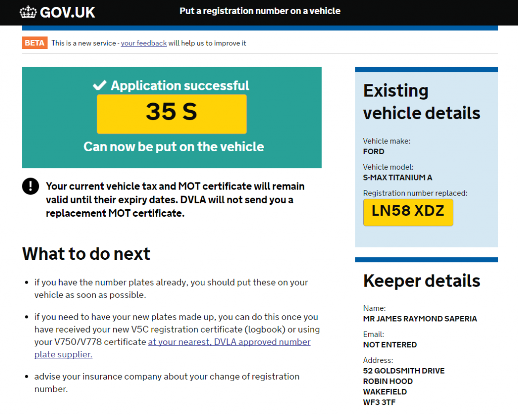 application successful to put a number plate on a car