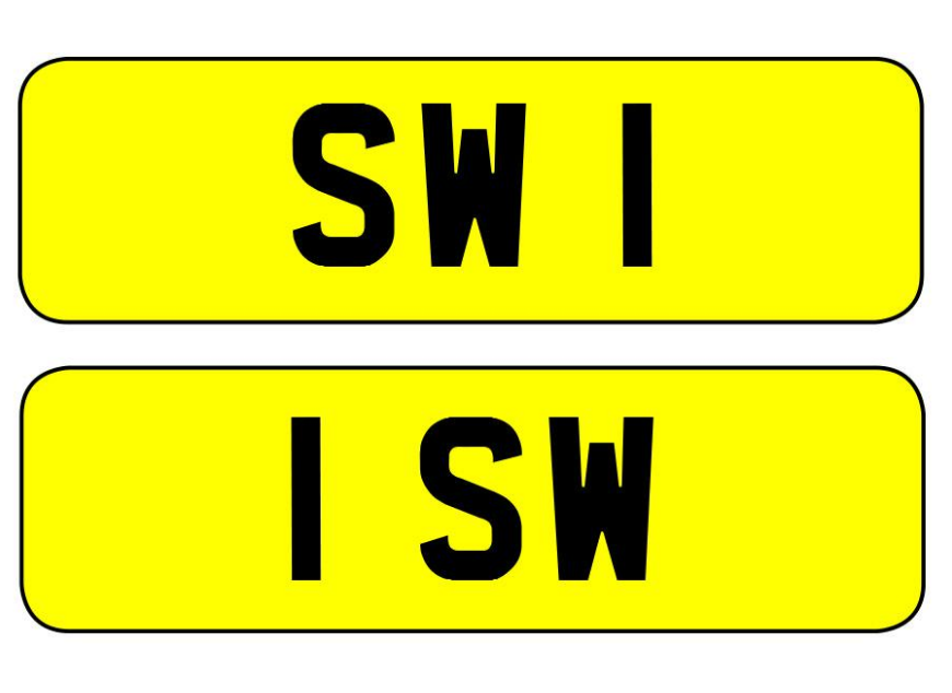 SW 1 and 1 SW personalised number plates